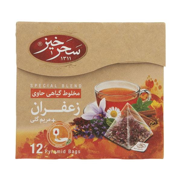 دمنوش مخلوط گیاهی زعفران و مریم گلی سحر خیز   12 عددی