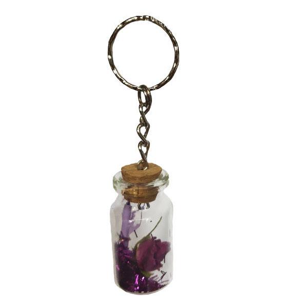 جاکلیدی مدل بطری طرح گل بنفشه